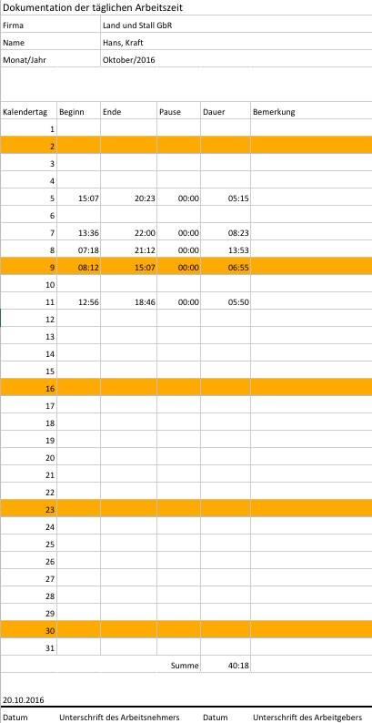 Arbeitsnachweis Excel trecker.com